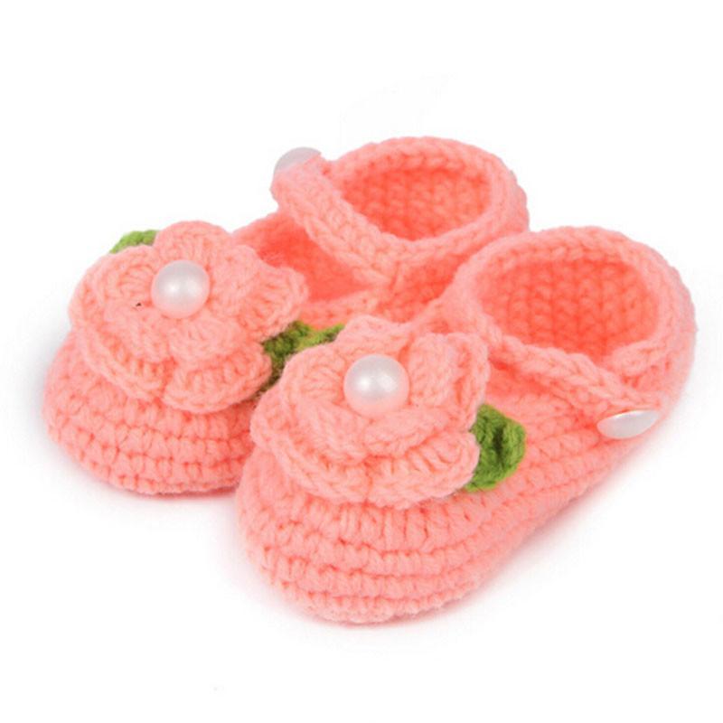 2e42110d9dd4e Acheter TELOTUNY Berceau Premiers Marcheurs Enfant Chaussures Mignon  Tricoter 0 1Y Fleur Chaussures Bébé Filles À La Main En Tricot Chaussette  Infant Rose ...
