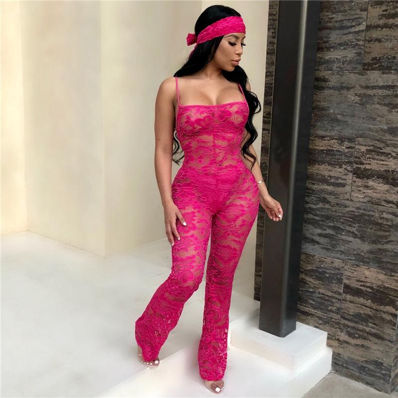 a3fd656d657 2019 Clubwear Sexy Sheer Lace Jumpsuit Romper Women Autumn Full Length Mesh  Bodysuit With Scarf See Through Christmas Party Jumpsuits From Philipppe