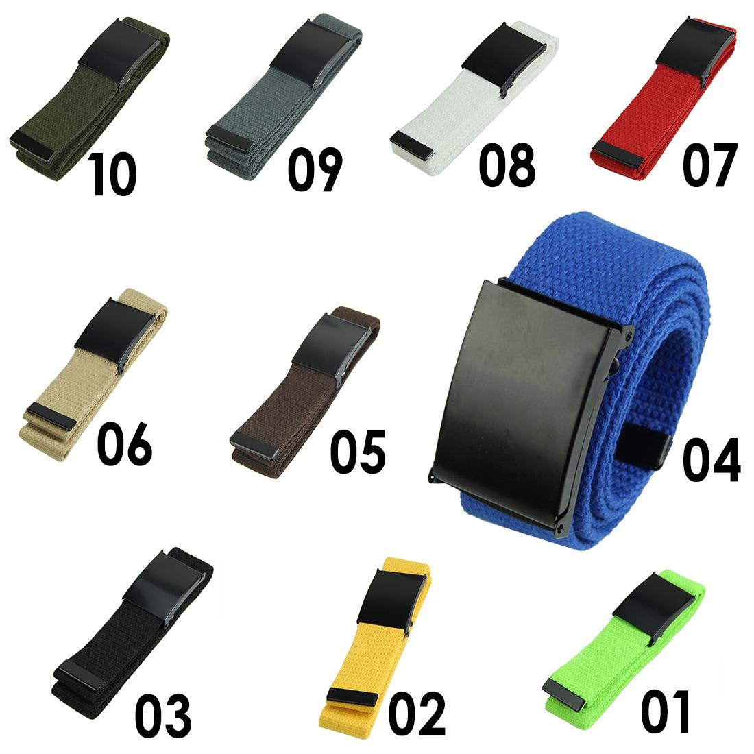 Fashion 2 Cotton Canvas Metal Buckle Belt Waist Waistband Cintos Men Women Unisex Boys Candy Colors Plain Webbing Accessories