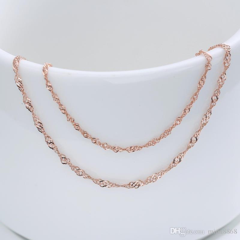 Real 925 Sterling Silver Necklace silver/rose gold color 16' 18' snake Chains necklace for Women Girls Wholesale