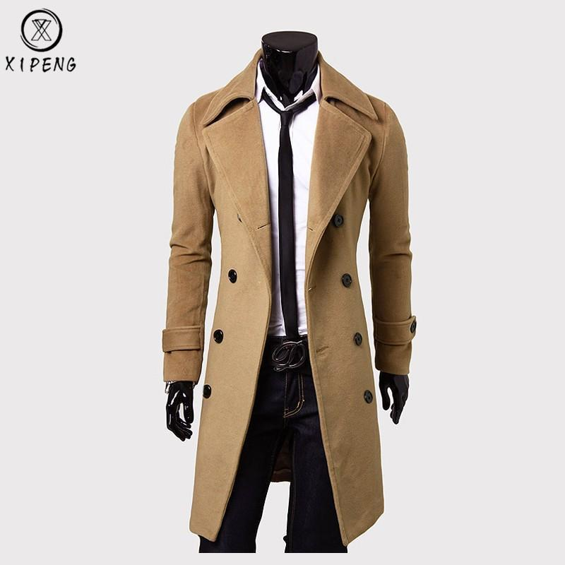 47a776a26c3 2019 Long Wool Coat Men 2018 High Quality Men Trench Coat Winter Wool  Blends Pea Jacket Slim Fit Mens Overcoat Manteau Homme 3XL From Hannahao