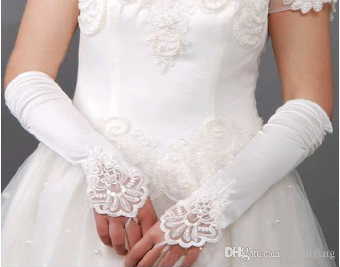 2018 Hot Sales Black Satin Bridal Gloves Beading Fingerless Excellent Quality Elbow Length In Stock Bridal Accessories Ivory Wedding Glvoes