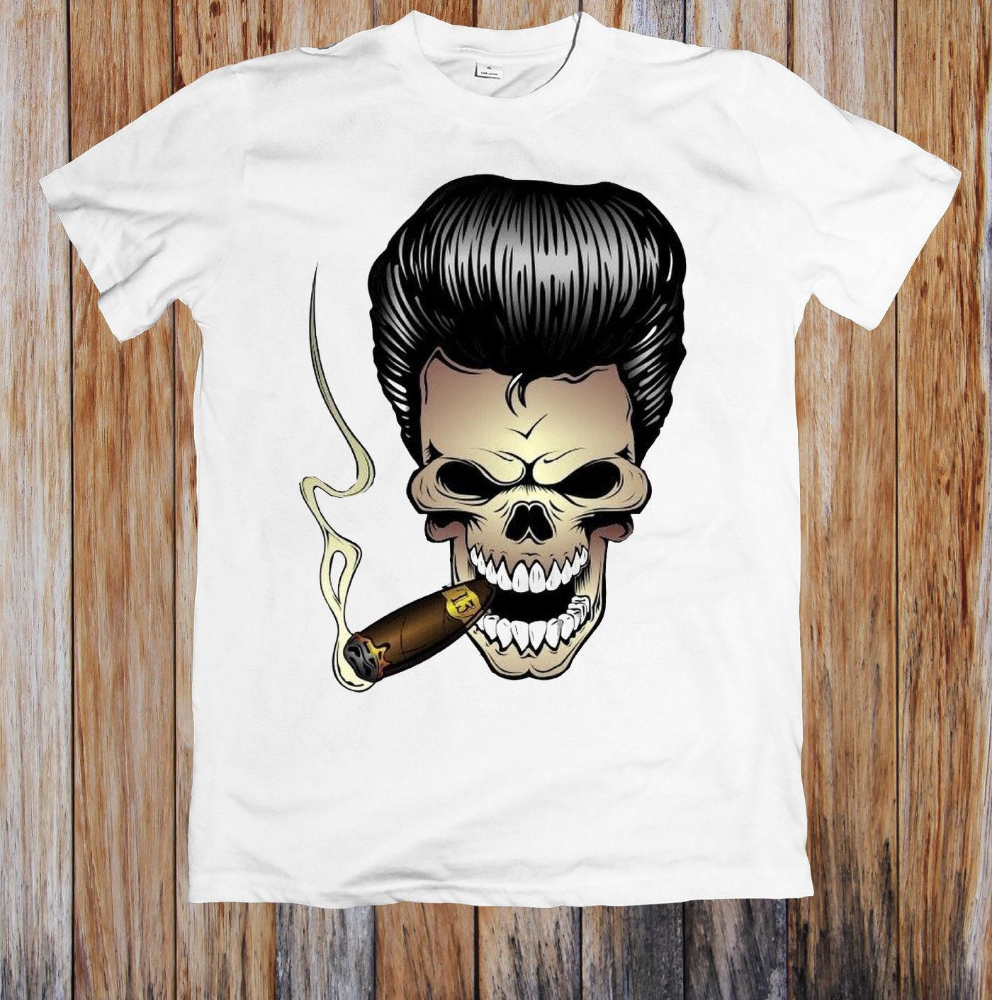 3ae2b0bae545a ROCKABILLY SKULL WITH CIGAR UNISEX T-SHIRT Men Funny O Neck Short Sleeve  Cotton T-Shirt New Fashion Print Free Shipping