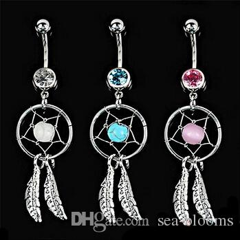3 Colors Crystal Gem Dream Catcher Feather Chain Navel Dangle Belly Barbell Button Bar Ring Body Art Bar G92L