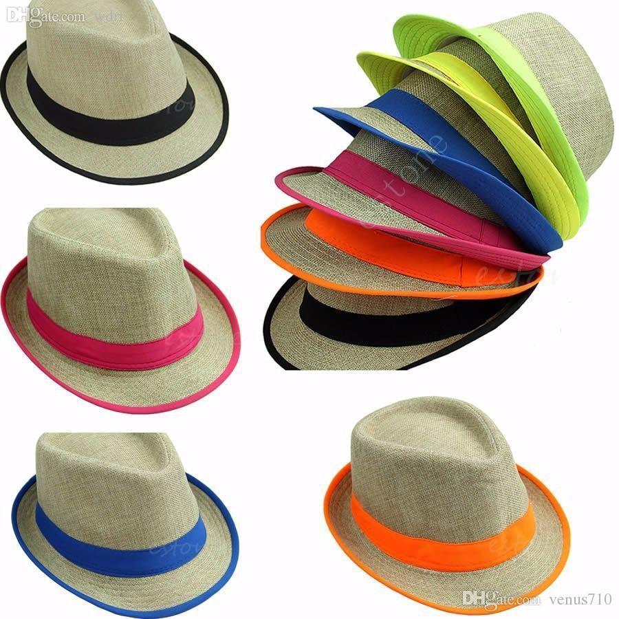 Wholesale Summer Men S Womens Neon Fedora Trilby Sun Cap Straw Beach Hat  Sunshade Hat Store Fedora Hats For Men From Venus710 49f6e647578