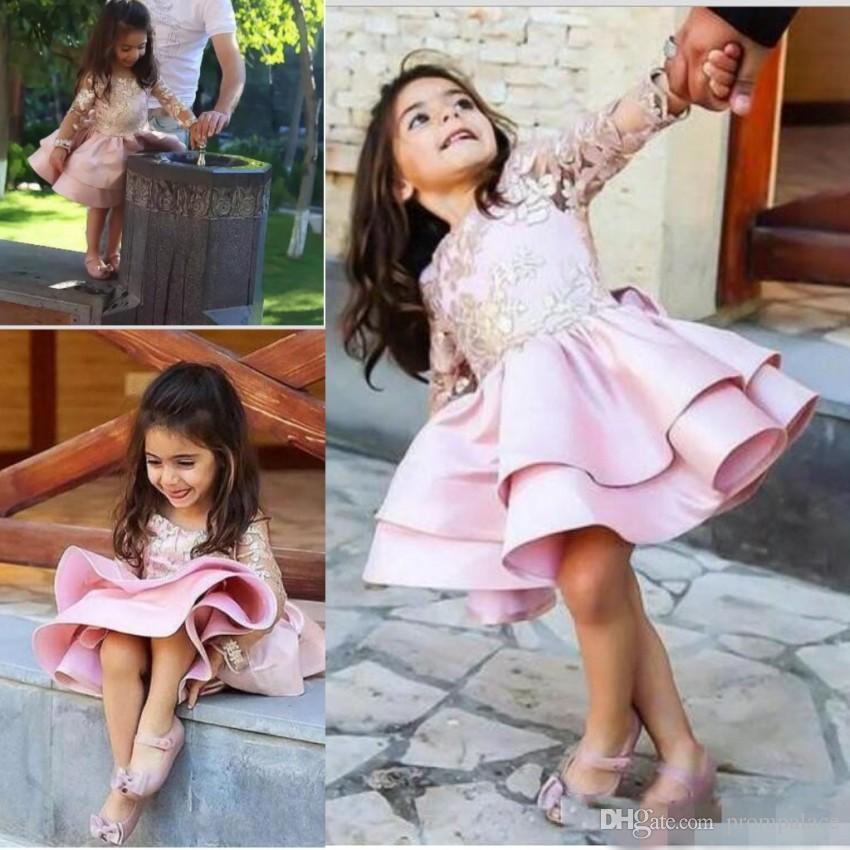 1b6102c78 Vintage Real Image Flower Girl Dresses For Weddings Long Sleeves Little Girl  Pageant Gowns Lace Applique Short Communion Dress Ivory Dresses Long Dresses  ...