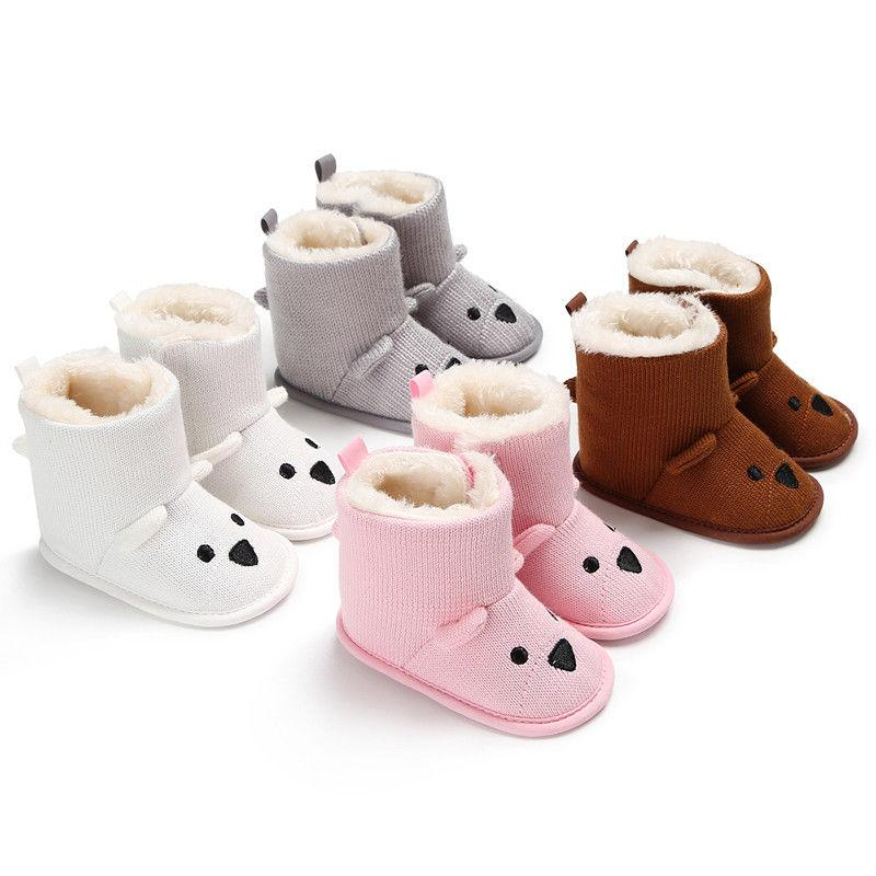 enjoy free shipping 100% authentic low price 2018 Winter Boot Cartoon Cute Bear Toddler Baby Boys Girls Snow Boots Knit  Crib Soft Sole Shoes 0-18 M