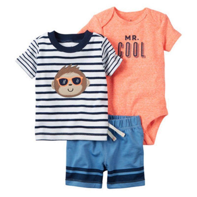 d5ff6932c584 Acquista SPEDIZIONE GRATUITA Set Di Vestiti Estivi Carter Bebes Baby Boys T  Shirt + Body Manica Corta + Pantaloncini 6 Mesi A 24 Mesi Bebes A  33.31  Dal ...