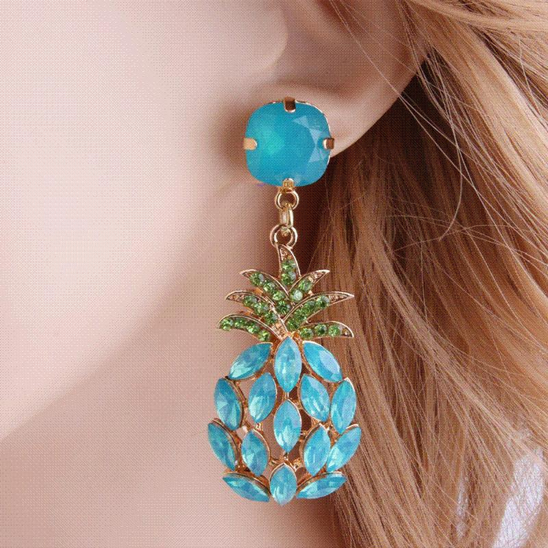 NeeFu WoFu Drop Rhinestone Earring Crystal Pineapple Big Earring ... 3945f6622f37