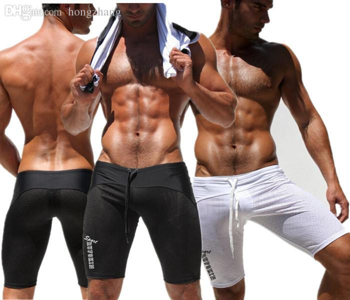 9e20b50843 Wholesale-Sexy Men's Workout Tights Elastic Gym Sports Running Shorts low  waist trunks Mesh Skinny Knee Length