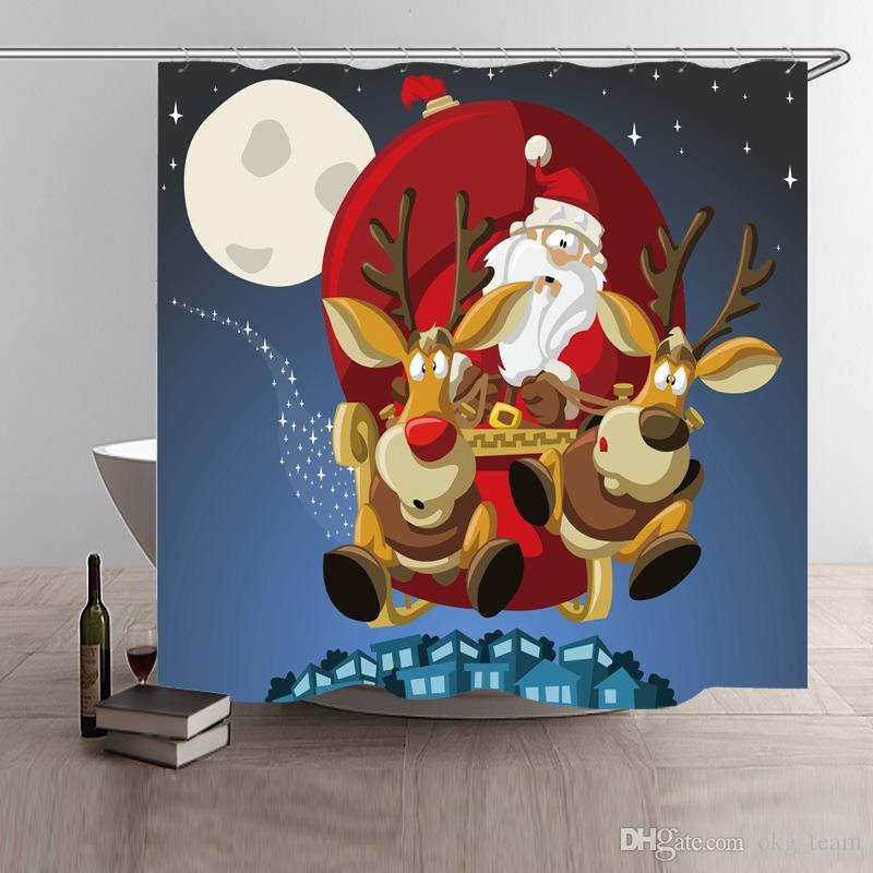 Großhandel Frohe Weihnachten Duschvorhang 180 * 180 Cm Weihnachten ...
