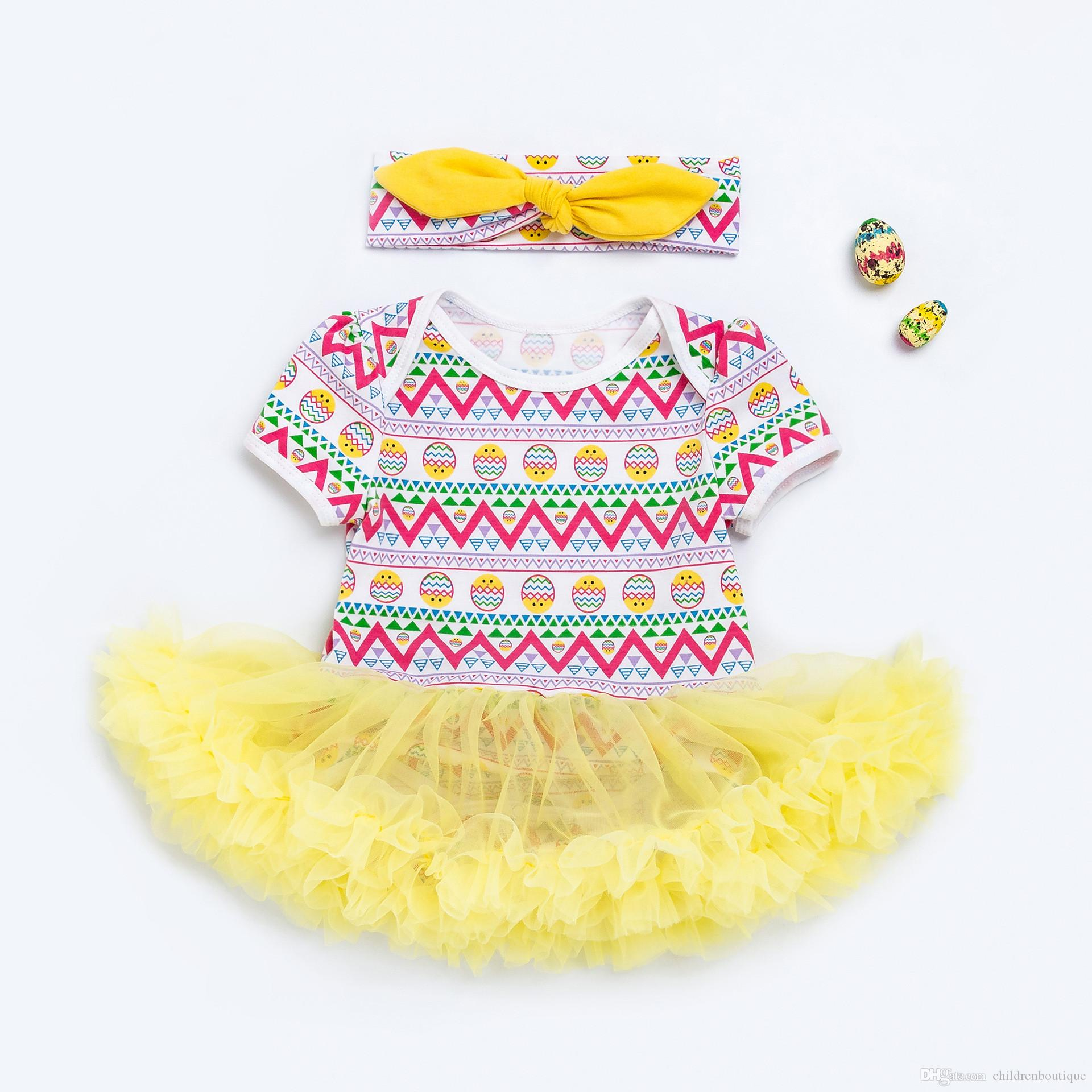 2018 2018 Easter Day Baby Clothes Cute Baby Girl Short Sleeve Romper
