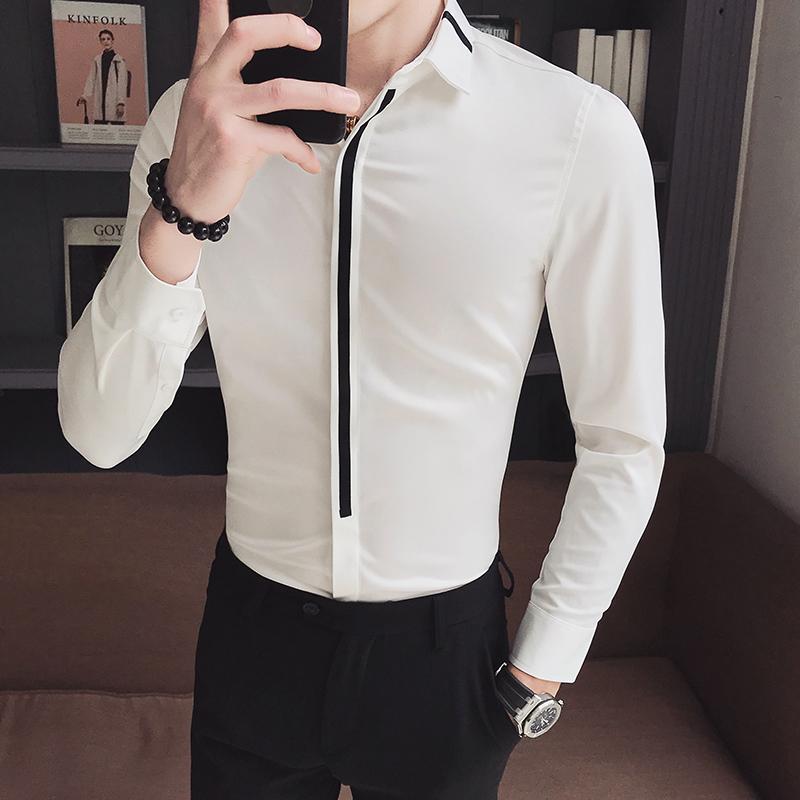 the latest 54475 7bd2f Camicia uomo manica lunga Slim Fit Patchwork Camicie eleganti uomo Camicie  formali Disegni Camisa Social Masculina Uomo Camicia business
