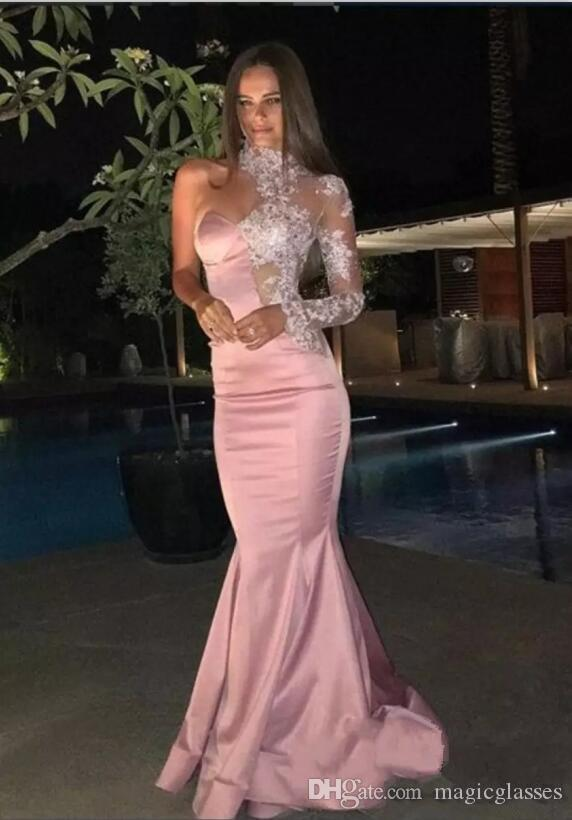 Formal Mermaid Rose Gold Evening Dresses 2018 Sexy Lace High Neck Sheer One Shoulder Long Sleeve Prom Gown Custom Red Carpet Celebrity Dress