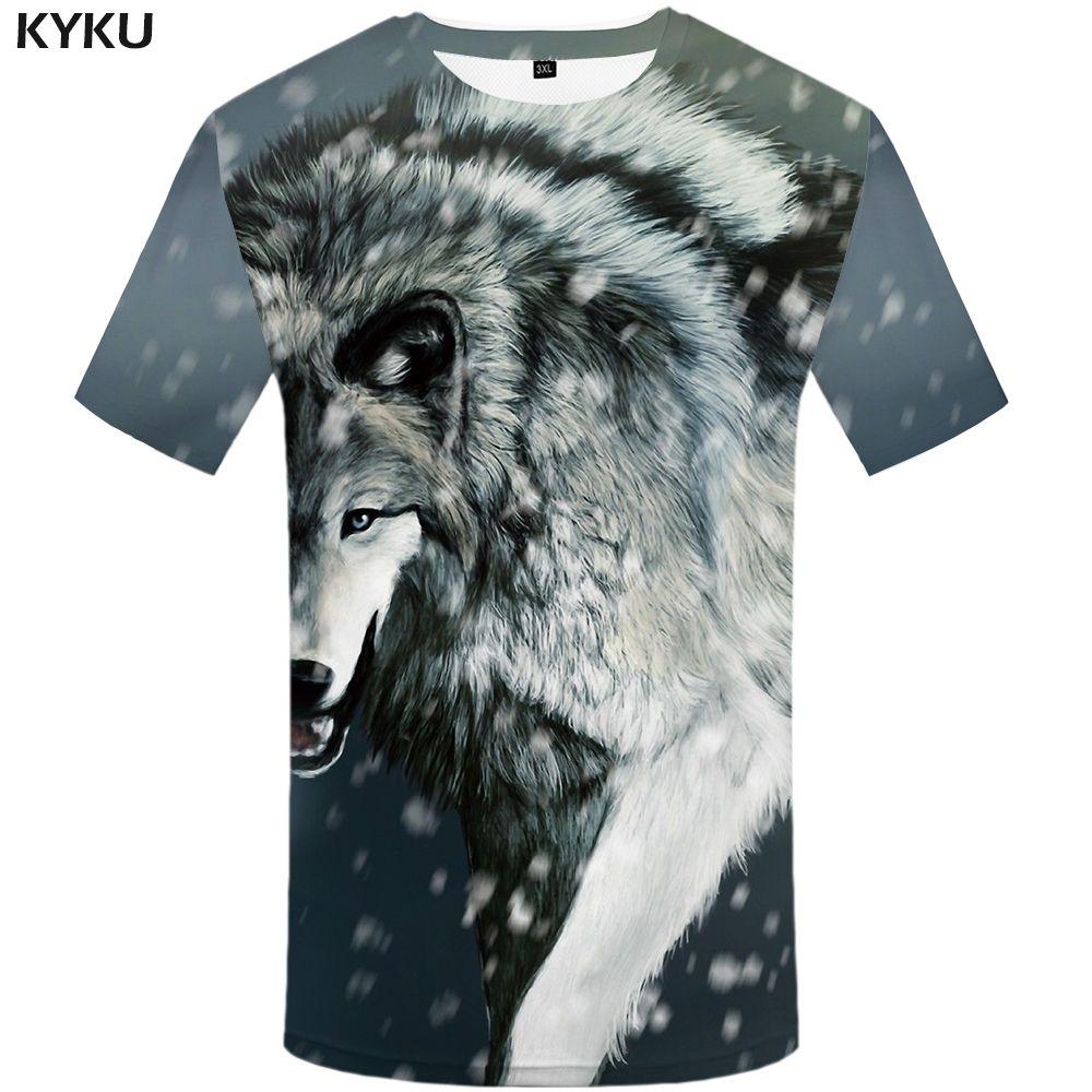 0107de91d30 KYKU Wolf T Shirt Snow Clothing Animal Tshirt Clothes Tees Shirts Men Rock  Top Tee Cool 2018 Political Shirts Shirt T Shirt From Mujing