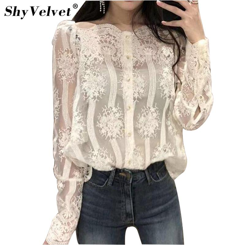 ed5d78bdd12ff 2018 Summer New Women Sexy Lace Blouse Flower Lace Tops Plus Size