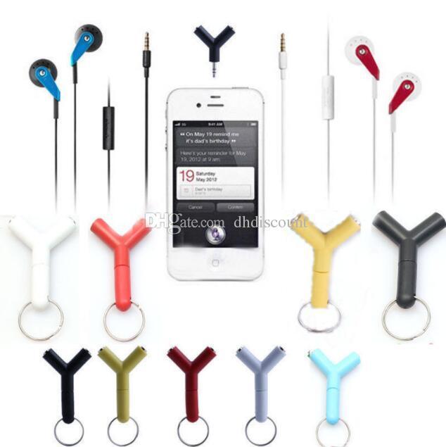 Y shape 3.5mm Stereo Splitter Audio Earphone Headset Headphone 2 Way Splitter Microphone Adapter for iPod PC IPhone Mp3