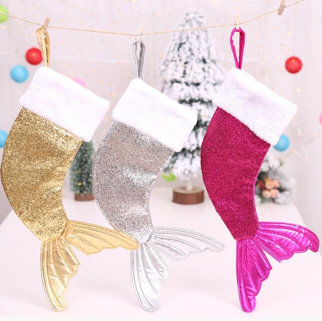 Mermaid Christmas Stocking.3 Colors Sparkly Mermaid Tail Christmas Stocking Sequin Mermaid Tail Magic Reversible Stocking Tree Ornaments Xmas Gifts Cca10449 12pcs