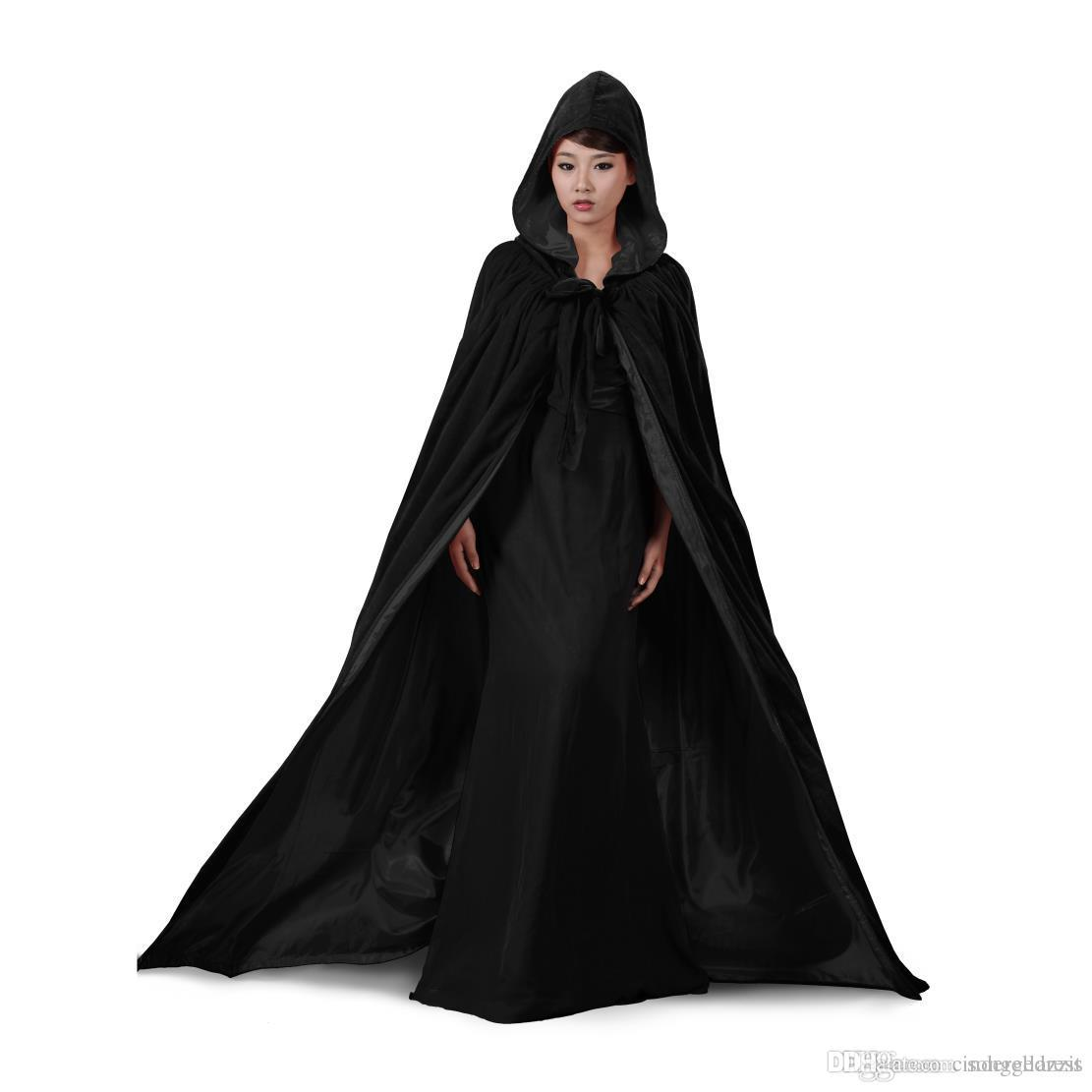 3953cd65a2 2019 Black And 10 Colour Lining Hooded Velvet Cloak Gothic Wicca Robe  Medieval Witchcraft Larp Cape Hooded Vampire Cape Halloween Party Cloak  From ...