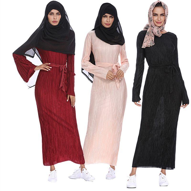 3b9fc5b65b04a Muslim Long Sleeve Maxi Abaya Dress Solid Color Islamic Clothing Elegant  Moroccan Kaftan Robe Turkish Sexy Party Dress Design