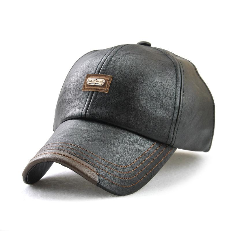 0c25b11b9b3d9 Men S Baseball Cap Trend Leather European And American Fashion Simple  Autumn And Winter Out Of The Wild Baseball Cap Trucker Caps Flat Bill Hats  From ...