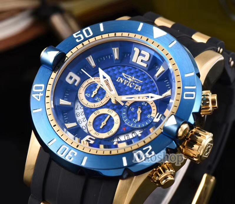 fb84a8b0e0e Invicta Mens Watch Diver 6983 Gold Steel Blue Dial Rubber Band Swiss Quart  Movment Chronograph Watch Luxury Men Clock Relogio Masculino Affordable  Watches ...