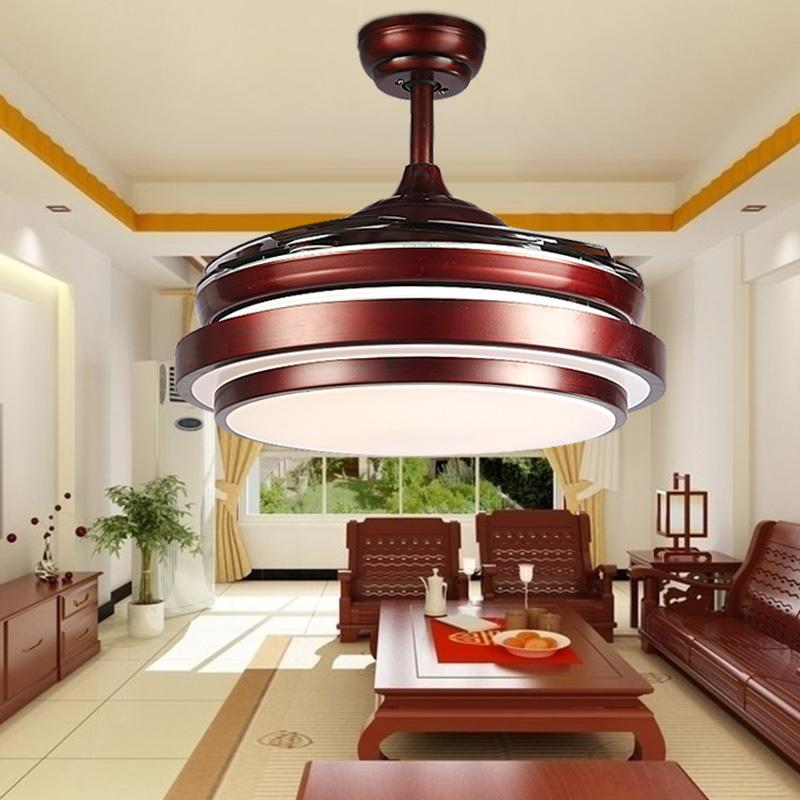 Ceiling Fans Lamp 42 Inch 108cm LED Living Room 85 265V Brown Dimming Remote Control Free Shopping Fan