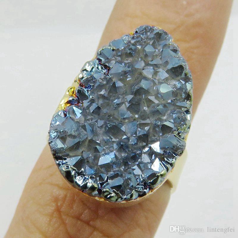 BOROSA 24 k Or Électrolytique Bord Réglable Largeur Forme Tear Cristal Raw Druzy Anneau