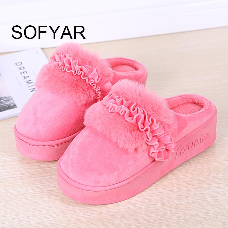 Casa de algodão grosso chinelos mulheres manter quente med calcanhar de algodão mop quente quarto casa sapatos linda linda flor de pelúcia sapatos