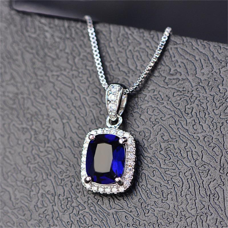 Classic Jewelry Necklaces Pendants For Women S925 Sterling Silver Cubic Zirconia Colorful Diamant 4 Claws Pendant Fine Jewelry