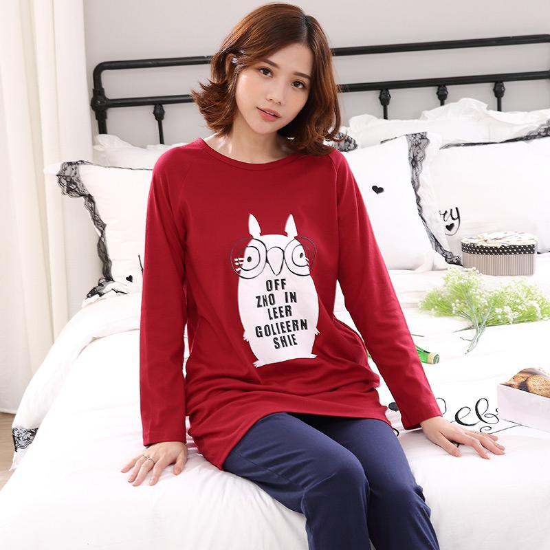 fdaaa74100 Women S Long Sleeve Pyjamas Autumn Cotton Cartoon Ladies Sleepwear Round  Neck Leisure Comfortable Soft Female Pajamas Set M XXL UK 2019 From Jiguan