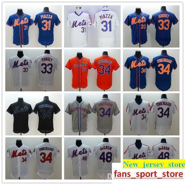 sports shoes 6c17e 64a44 2019 Mens Mets 31 Mike Piazza 33 Matt Harvey 34 Noah Syndergaad 48 Jacob  deGrom baseball Jerseys blue red white gray black Size:S-XXXL