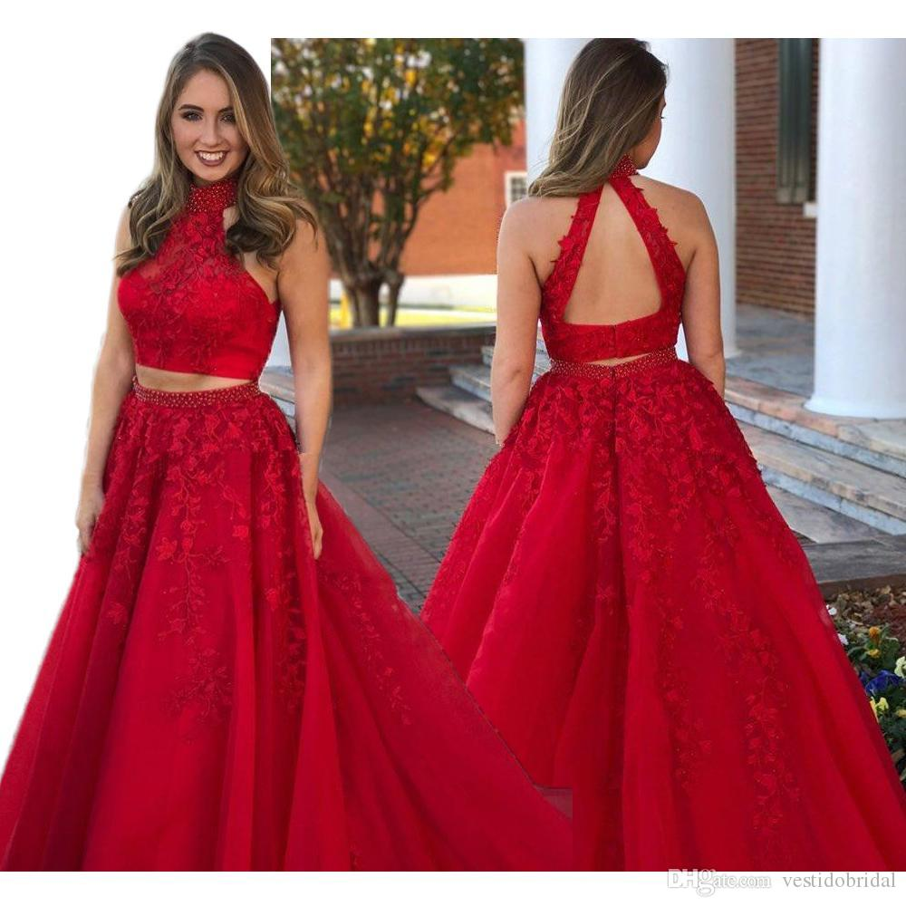 2018 Charming Red Two Piece Prom Dresses High Neck Lace Applique ...