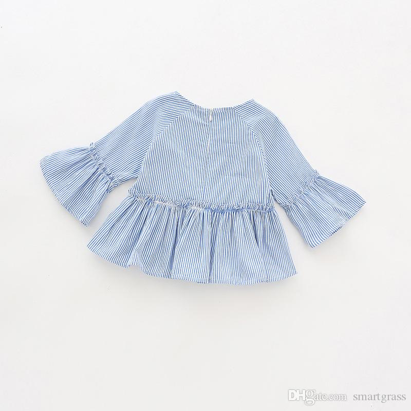 100 Cotton Toddler Long Sleeve Shirts Fashion Pleated Baby Girl Clothes Ruffled Striped Shirts for Girls 18041403