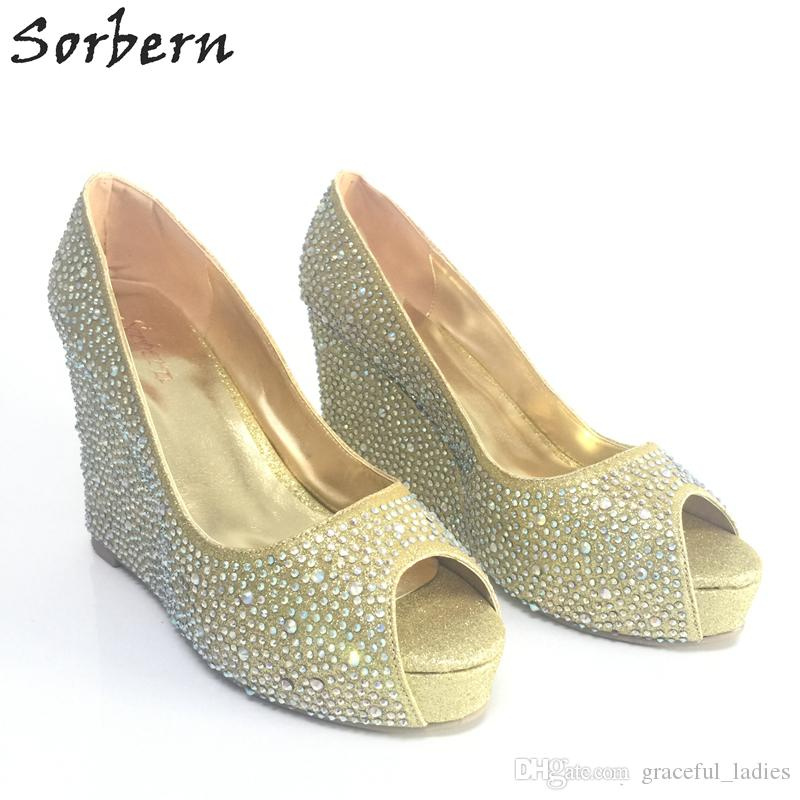 889b22b0039 Silver rhinestone wedding shoes wedge peep toe jpg 800x800 Silver crystal  shoes
