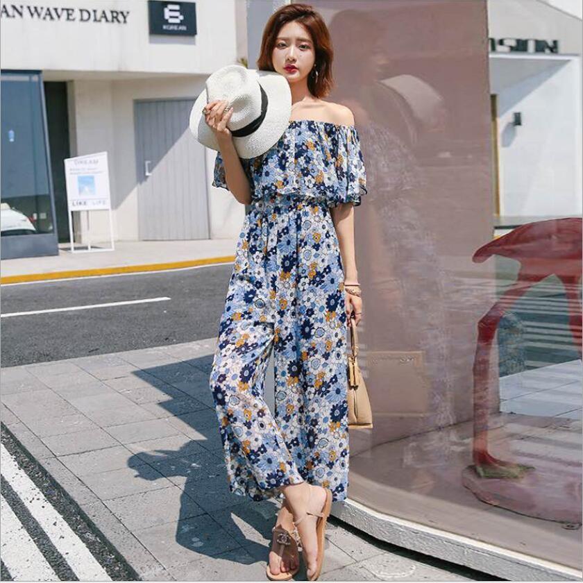 75a91b2b354 Hot Sell Chiffon Rompers Floral Korean Version High Waist Strapless Wide  Leg Pants Rompers Chiffon Rompers Wide Leg Pants Online with  61.07 Piece  on ...