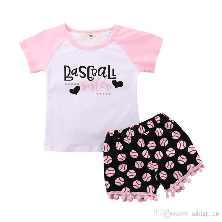 a014bb5bf0c9 2018 Girls Children's Clothing Set Short Sleeve T-shirts Tassel ...