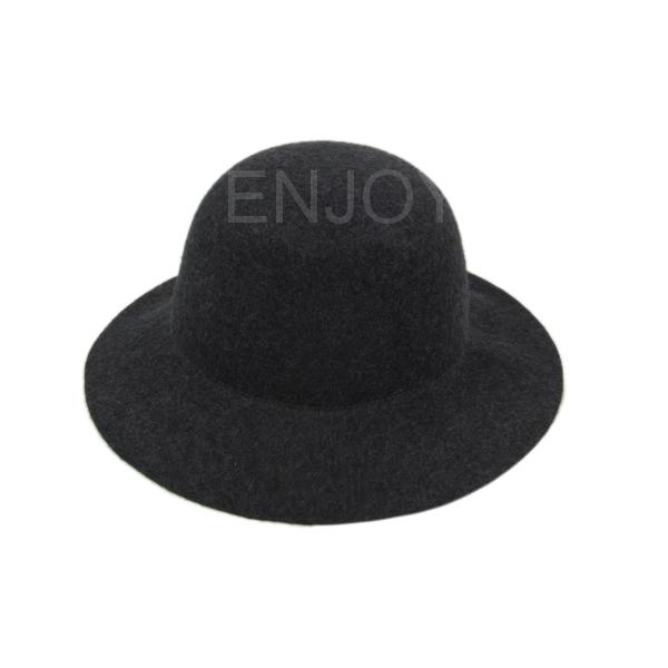 e535ef7409b Women Fashion Hat Wide Brim Wool Felt Bowler Fedora Hat Floppy Cloche Lady  Girls Autumn Winter decoration neutral caps Dark Grey