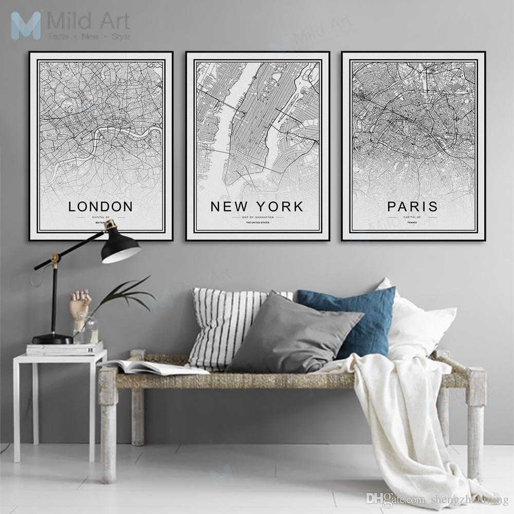 2019 Black White World City Map Poster Nordic Living Room London New
