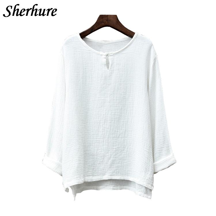 0247b56039b6f 2018 Spring Shirt Women Long Sleeve Femme Blouse O-Neck Loose Women Shirts  Cotton And Linen Blusa Tops Pullovers Oversized