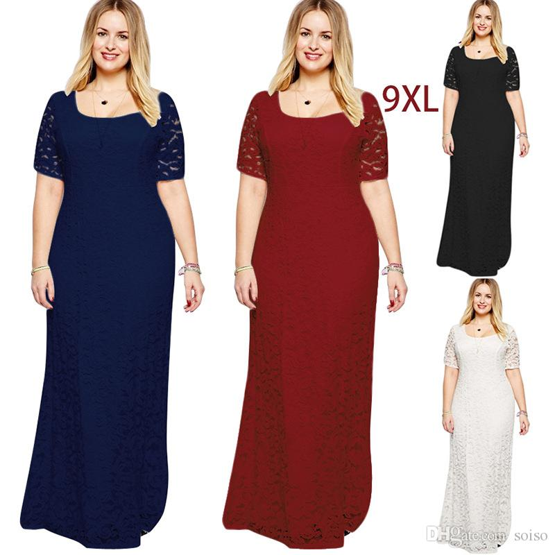 1f614398a3 Short Sleeve Lace Dresses Sexy Fat Women s Lace Elegant Evening Dress Maxi  Dress Full Lace Floor-Length Party Loose Skirt XL-9XL