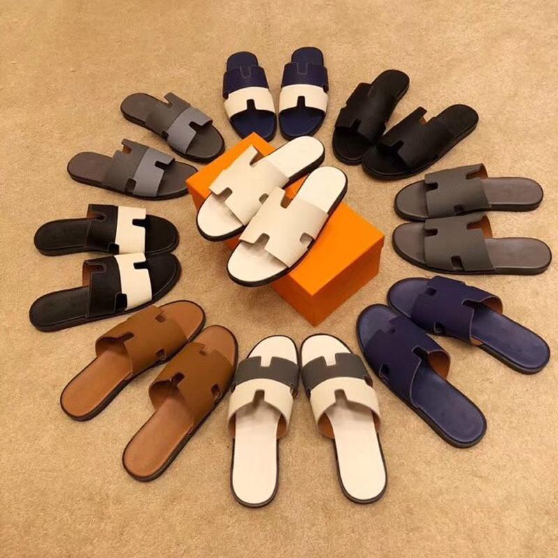 Paris Sandals Fashion Brand Classic Men's Slippers Super Star Genuine Leather Splice Casual Sandals High Quality Designer Slippers