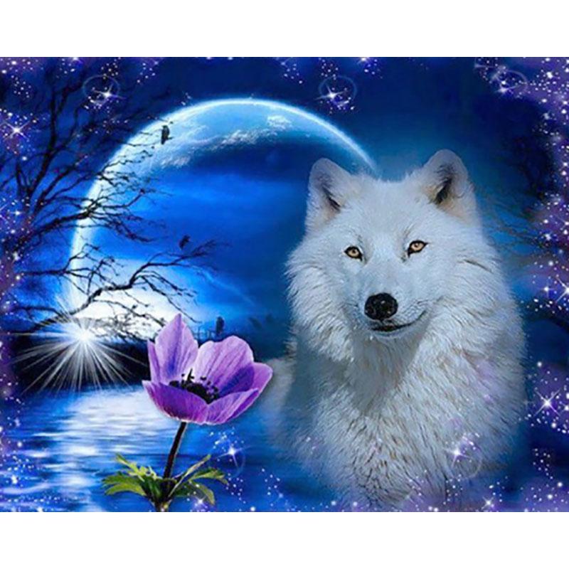 Satın Al Yeni Beyaz Kurt Gece Diy Boyama Elmas Diamonds Hediye