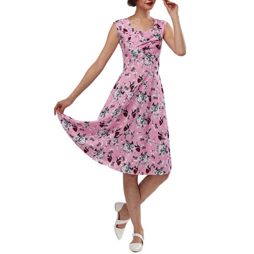 Acquista Abito Elegante Vintage Casual Vestito Floreale Abiti Donna 2018  Fit And Flare Stampa Colletto Quadrato Abiti Da Donna Vestido A  33.83 Dal  ... ba4eb42f0f9