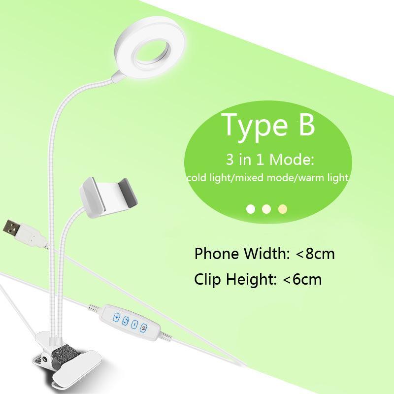 Yeni varış USB güç LED Özçekim halka ışık ile cep telefonu klip tutucu tembel Braketi Danışma iPhone Samsung için