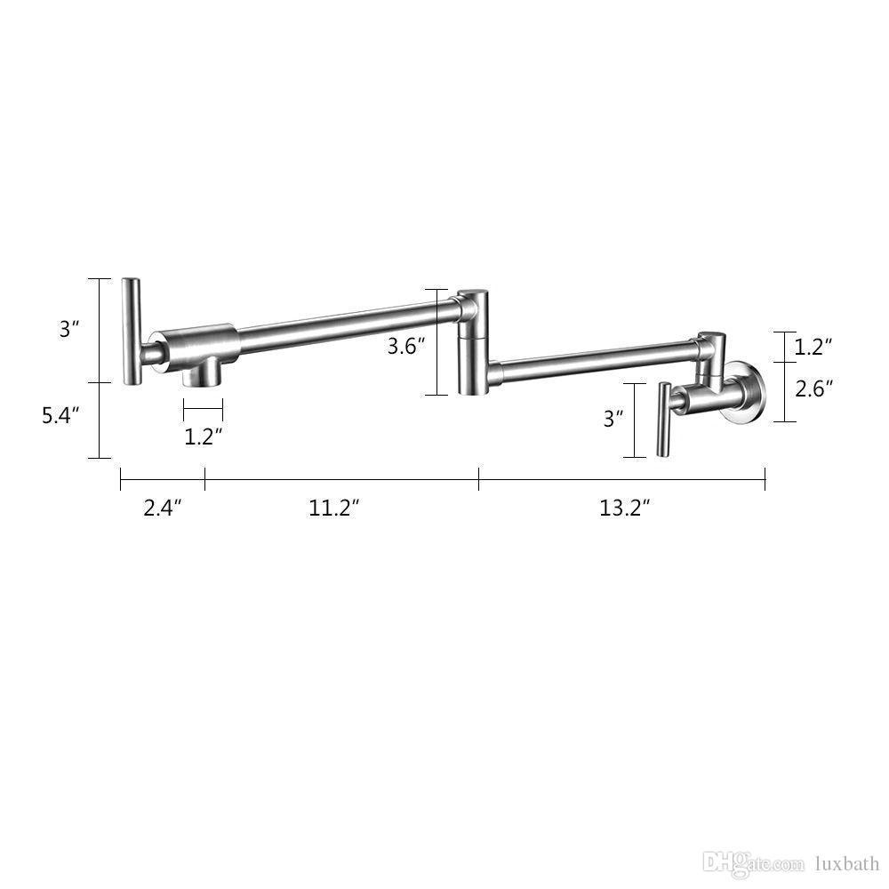 Rolya Matte Black Pot Filler Kitchen Faucet Wall Mounted Extendable Sink Tap