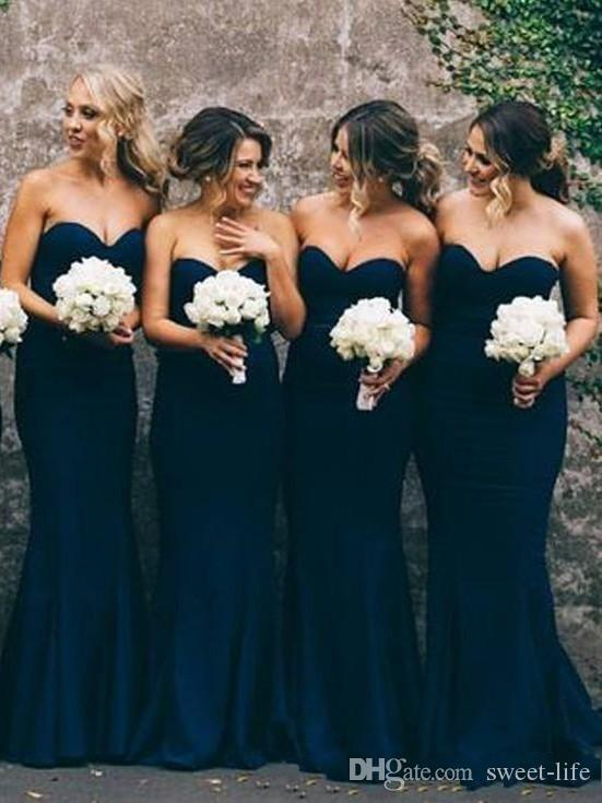 2019 Dark Navy Blue Plus Size sirène demoiselles d'honneur robes Sweet Heart étage longueur jardin de mariage Prom robes de soirée pas cher personnalisé