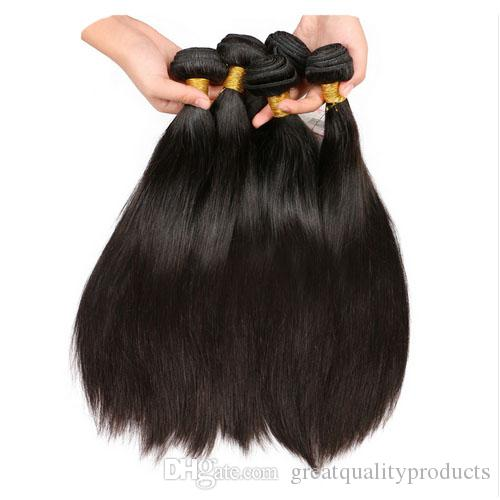 Grade 10 A Brazilian Human Hair Three Bundles Extension With Lace Closure 4*4 Inch Natural Color Virgin Hair Hot Sale