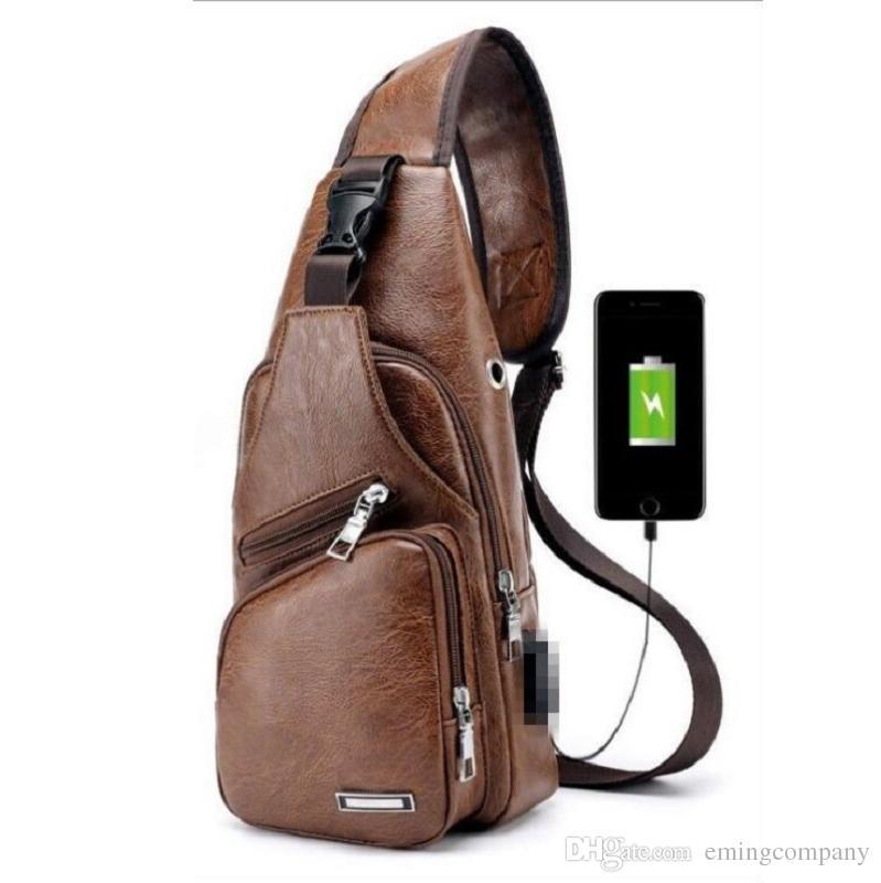 Men USB Chest Bag Sling Bag Waterproof Large Capacity Handbag ... 6475351c5a1f7