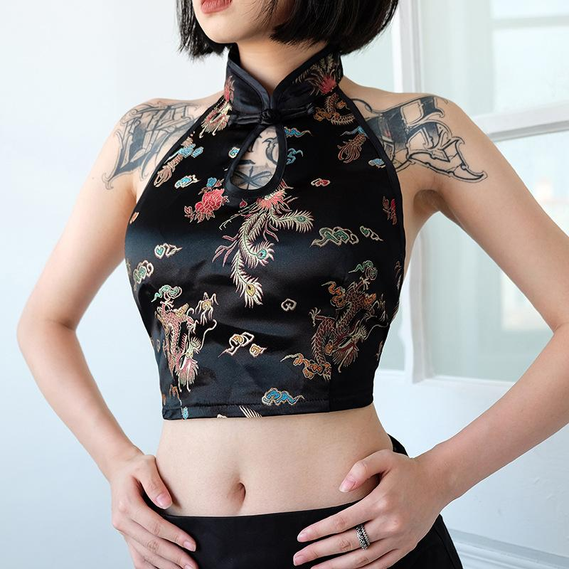 1b99aa60d6 2019 Women Sexy Vintage Slim Halter Open Back Tie Up Floral Dragon Camis Camisole  Tank Top Female Bandeau Shirt Crop Top WT3109W08 From Meicloth
